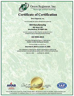 Injection Molding Certificate
