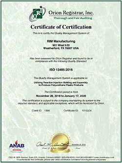 Certificate of Certification for injection molding