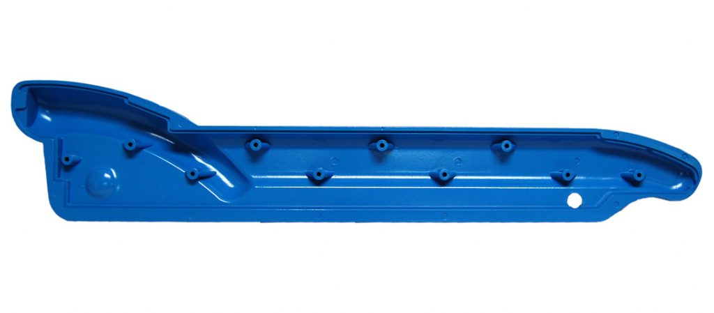 Blue Plastic part from RIM manufacturing