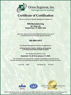 New RIM Manufacturing certification letter